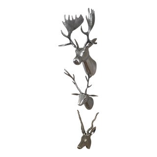 Silver Metal Faux Taxidermy Wall Mount Animal Heads - Set of 3