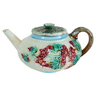 Antique English Majolica Floral Teapot