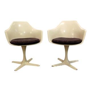 Mid-Century Modern Burke Saarinen Style White Tulip Dining Chairs - A Pair
