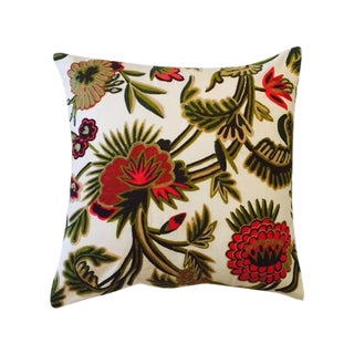 Heavy Crewl Red & Green Embroidery Pillow