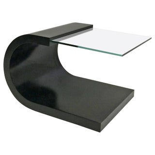 Waterfall Black Lacquer & Glass End Table