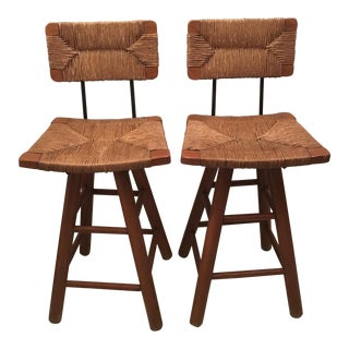 Wicker & Wood Swivel Bar Stools - Pair