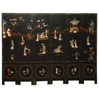 Six-Panel Chinese Lacquered Hardstone Screen