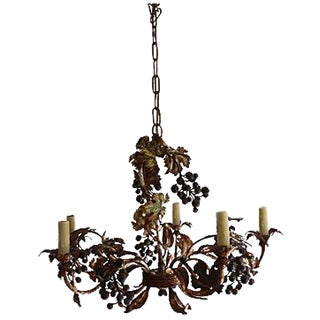 Rustic Iron Grapevine Chandelier