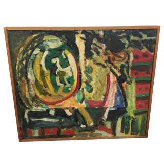 Mid-Century Abstract Oil on Canvas by Andre Glatz