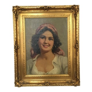 Original Oil Italian Female Portrait
