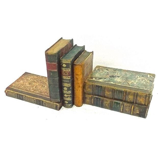 Image of Antique Leather Bound Books - Set of 6