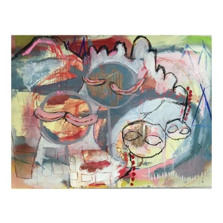 "Christine Bush Roman ""The Four of Us"" Mixed Media Painting"