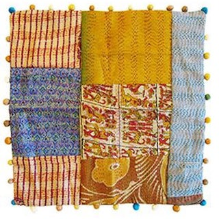 Vintage Indian Sari Pillowcase in Yellow