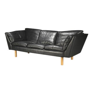 Danish 1970s-Early 1980s Black Leather Sofa by Henning Jensen