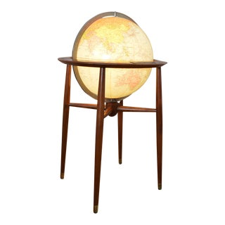 Beautiful Mid Century Modern Replogle Illuminated Floor Globe