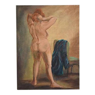 Boho Chic Female Nude Oil Painting Study