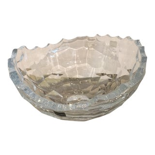 Faceted Sculpted Crystal Bowl