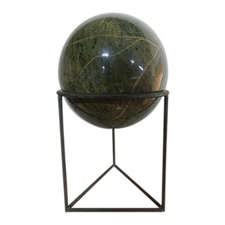 Round Faux Green Marble Sphere