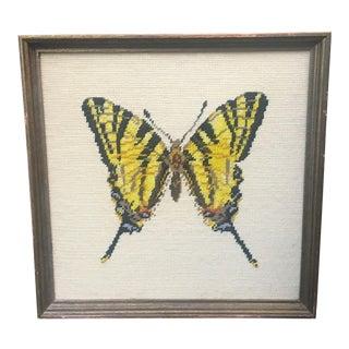 Vintage Boho Chic Butterfly Framed Needlepoint