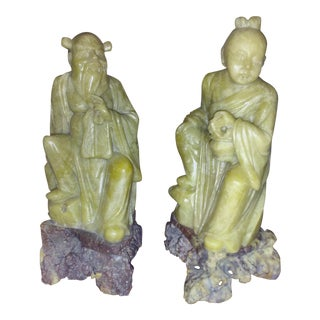 1900-1920 Chinese Soapstone Statues - A Pair
