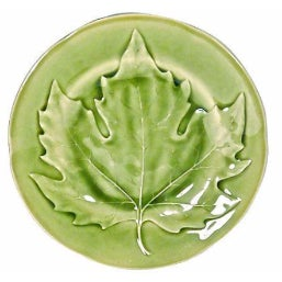 Majolica Choisy Le Roi Green Maple Leaf Plate