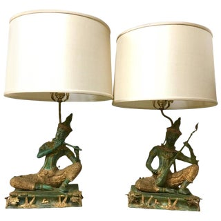Thai Figures Table Lamps - A Pair