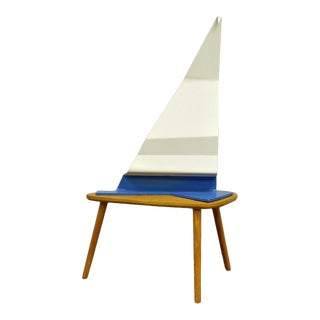 Levy Mid-Century Modern Modernist Steel Abstract Nautical Sailboat Sculpture & Oak Stand