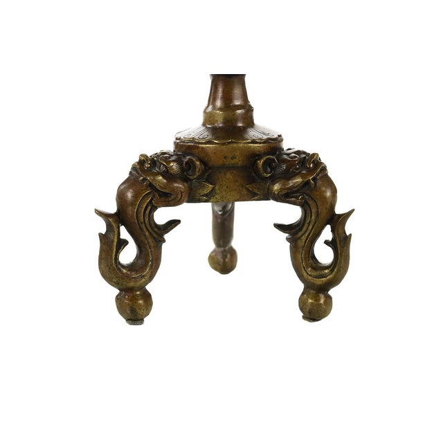 Antique Japanese Bronze Frog Candlesticks - A Pair - Image 6 of 9
