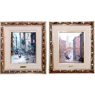 Antonio DeVity Venitian City Scene Oil Paintings- Pair