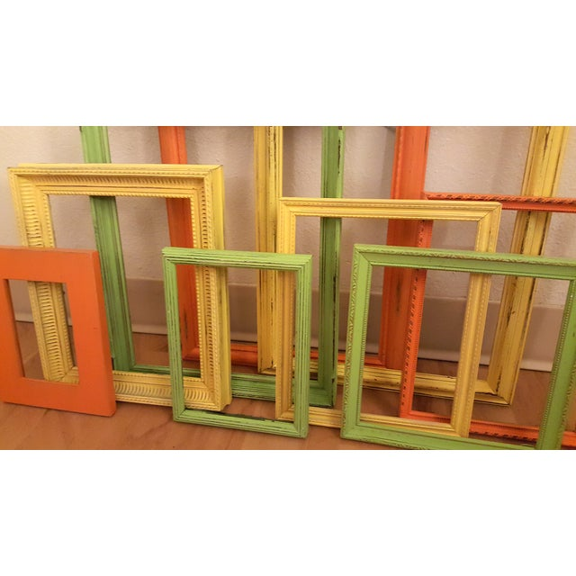Distressed Picture Frames in Citrus - Set of 9 - Image 3 of 3