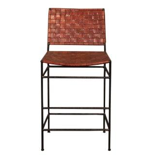 Vintage Sarreid LTD Woven Leather Iron Bar Stool