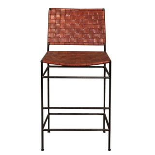 Vintage Sarreid LTD Woven Leather Iron Bar Stool