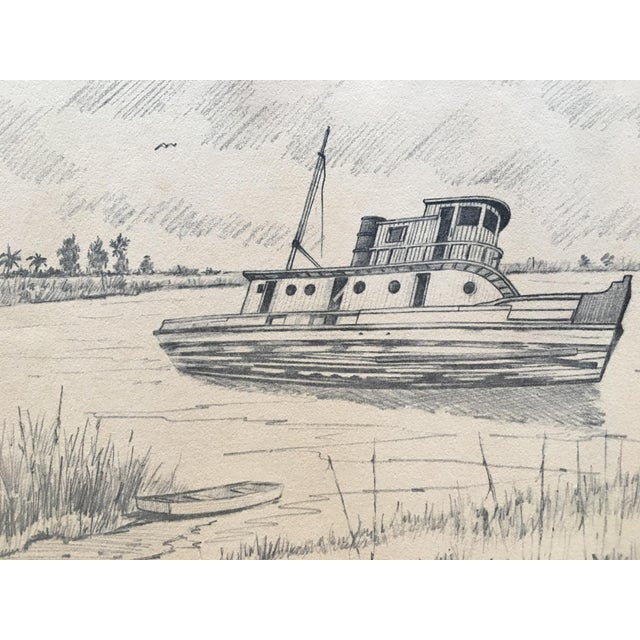 Pencil on paper vintage fishing boat drawing chairish for How to draw a fishing boat