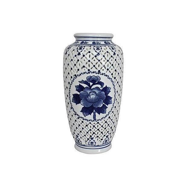 Blue & White Pierced Chinois Vase - Image 1 of 6