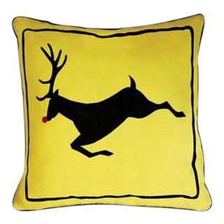 Yellow Rudolph Reindeer Pillow