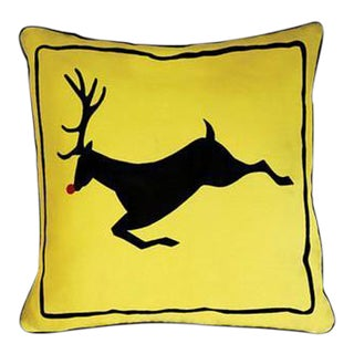 Yellow Rudolph Reindeer Pillow