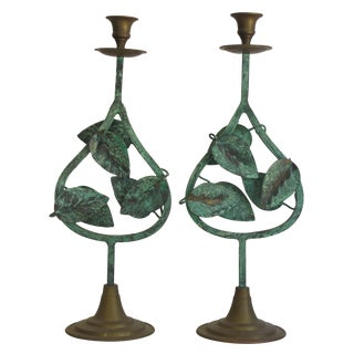 Verdigris Leaf Candleholders - Pair