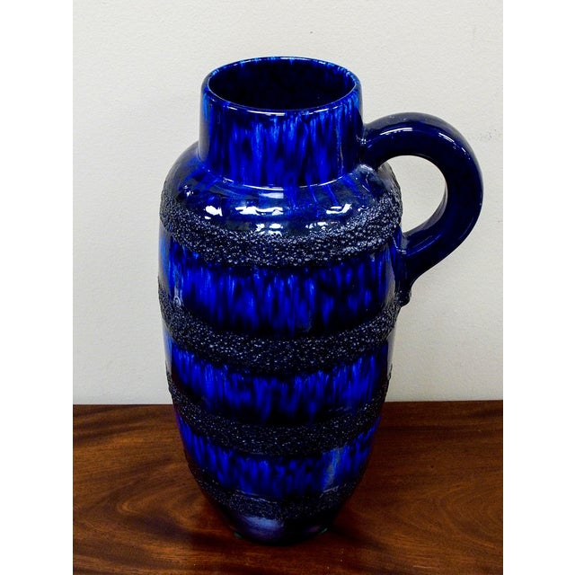 Scheurich Keramik Vintage Blue Fat Lava Floor Vase - Image 3 of 6
