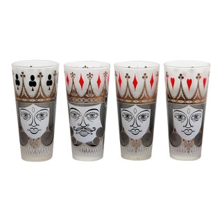 Vintage Mid-Century Playing Card Highball Cocktail Tumblers - Set of 4