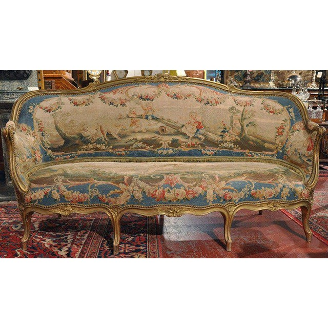 Louis XV Carved Gilt & Aubusson Tapestry Canapé - Image 2 of 10