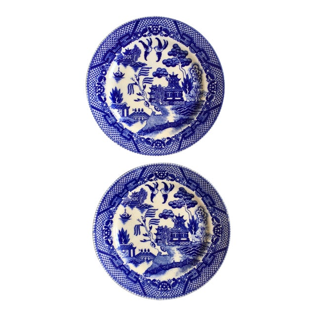 "Antique ""Blue Willow"" Pattern Plates - A Pair - Image 1 of 6"