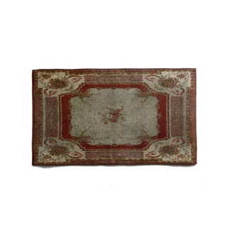 "French Aubusson Style Red & Teal Rug - 2'6"" X 4'2"""