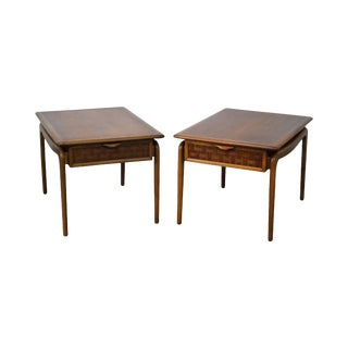 """Lane """"Perspective"""" Walnut End Tables - A Pair"""