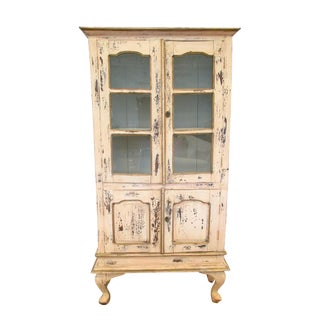 Antique French Painted China Cabinet