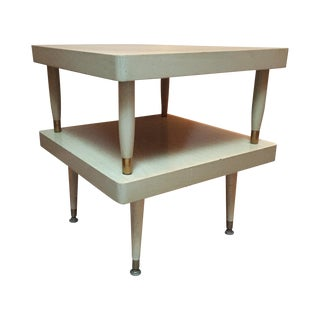 Mid-Century Two-Tier Blonde Wood Step Side Table