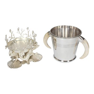 Silver Plated Sea Life and Faux Tusk Ice Bucket
