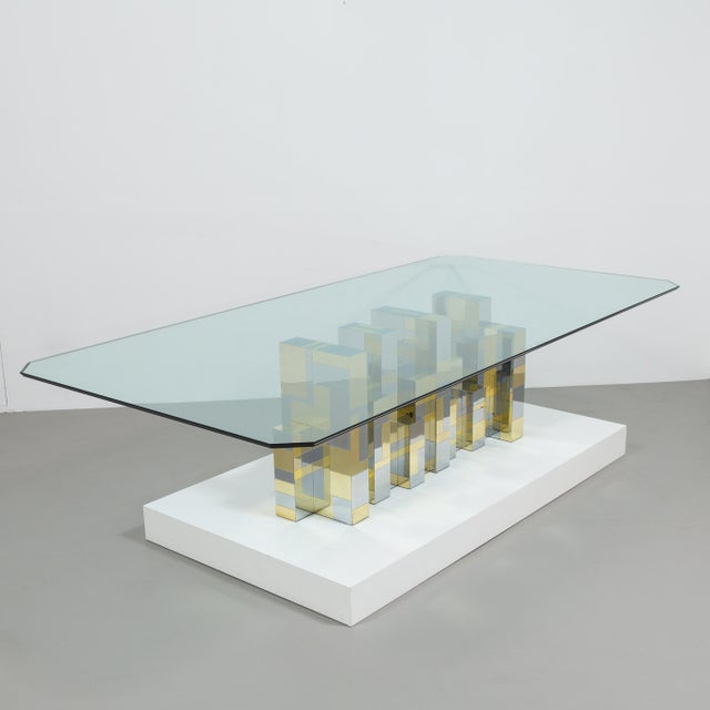 A Paul Evans Cityscape Pedestal Dining Table Base 1970s - Image 3 of 10