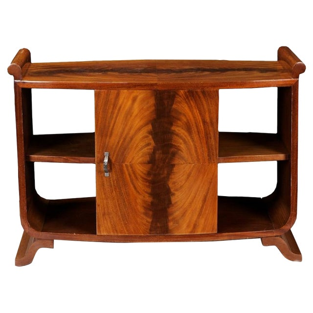 French Art Deco Burl Wood Side Table Cabinet - Image 1 of 8