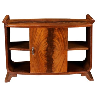 French Art Deco Burl Wood Side Table Cabinet