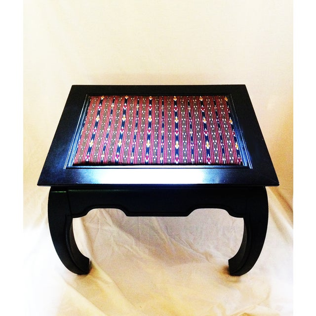 Image of Ming-Style Side Table With Upholstered Top