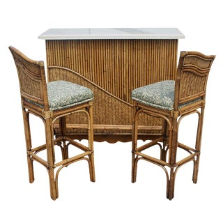 Vintage Rattan Granite Cocktail Bar Set