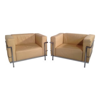 Le Corbusier Lc3 Style Lounge Chairs - A Pair