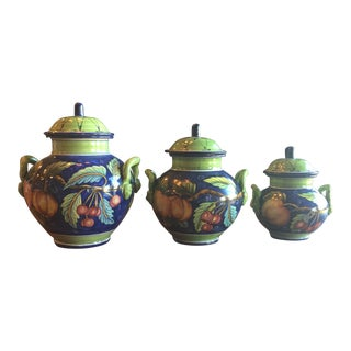 Italian Hand Painted Canisters - Set of 3