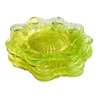 Antique Victorian Eapg Pressed Vaseline Glass Plates - Set of 4